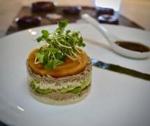 "Raw Vegan Sushi Cake. Sunflower ""Salmon."" Jicama ""Rice."" Avocado Carpaccio. Plant-based Teriyaki."
